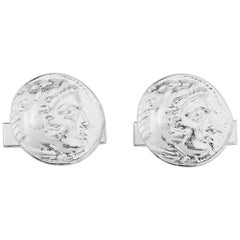 Alexander the Great Cufflinks in Sterling Silver, Ancient Coin