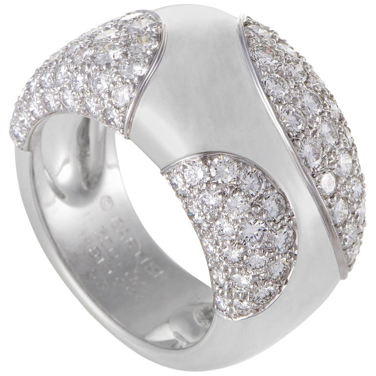 Cartier Women's 18 Karat White Gold Spotted Diamond Pave Band Ring