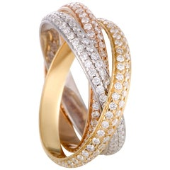 Cartier Trinity 18 Karat Yellow White and Rose Gold Diamond Pave Three-Band Ring