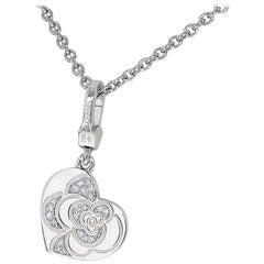 Chanel Diamond 18 Karat White Gold Camellia Heart Necklace