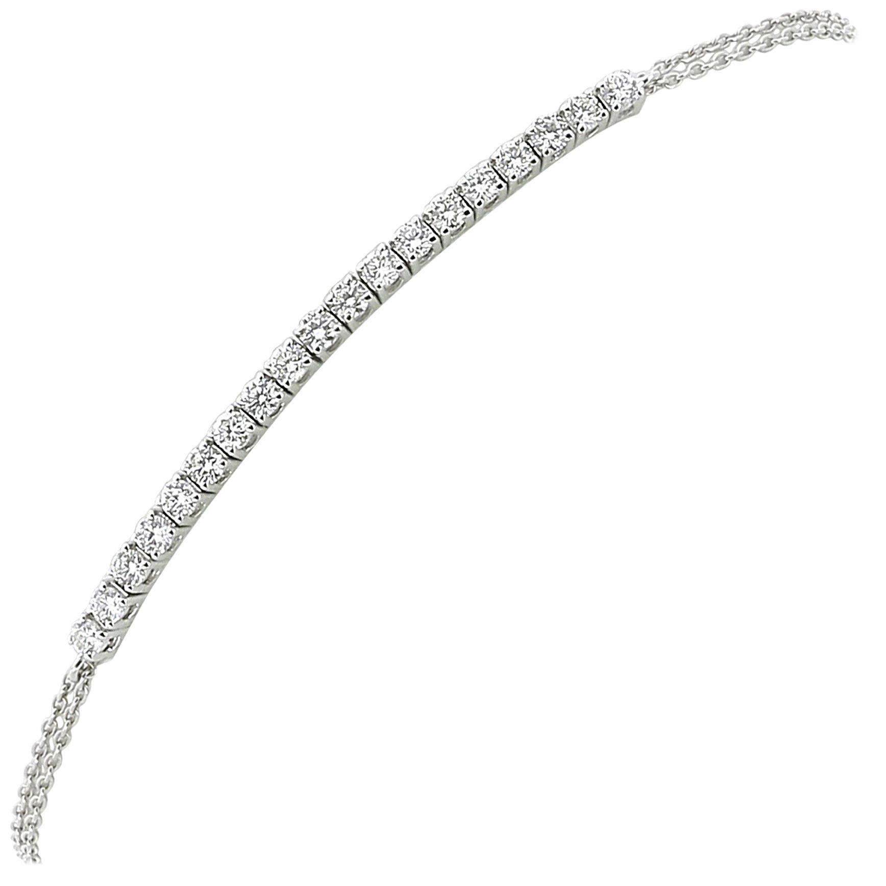 0.60 Carat GVS Round White Diamond Tennis Bracelet 18K WhiteGold/ Chain Bracelet