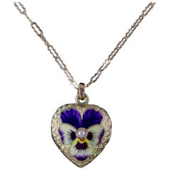 Antique Victorian Locket Necklace Pansy Heart 15 Carat Gold, circa 1900