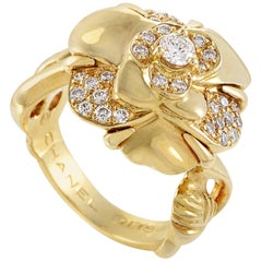 Chanel Camelia Women's 18 Karat Yellow Gold Diamond Flower Ring
