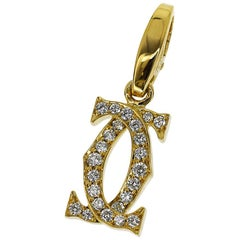 Cartier 2C Diamonds 18 Karat Yellow Gold Charm