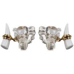 Elephant Cufflinks in Rock Crystal Diamond and White Agate