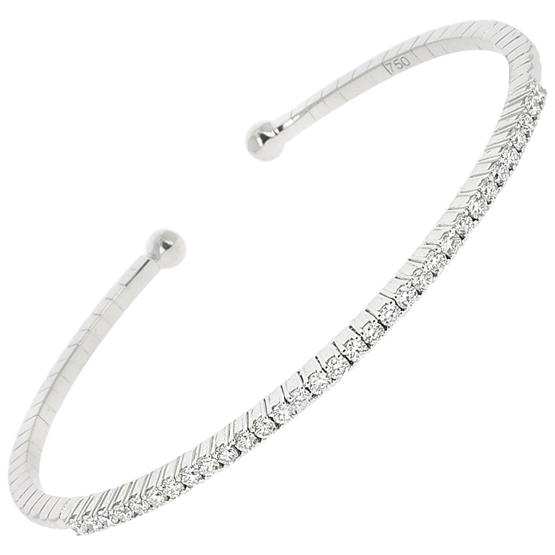 0.60 Carat GVS Round White Diamonds Tennis Bracelet/Cuff Bracelet 18K White Gold