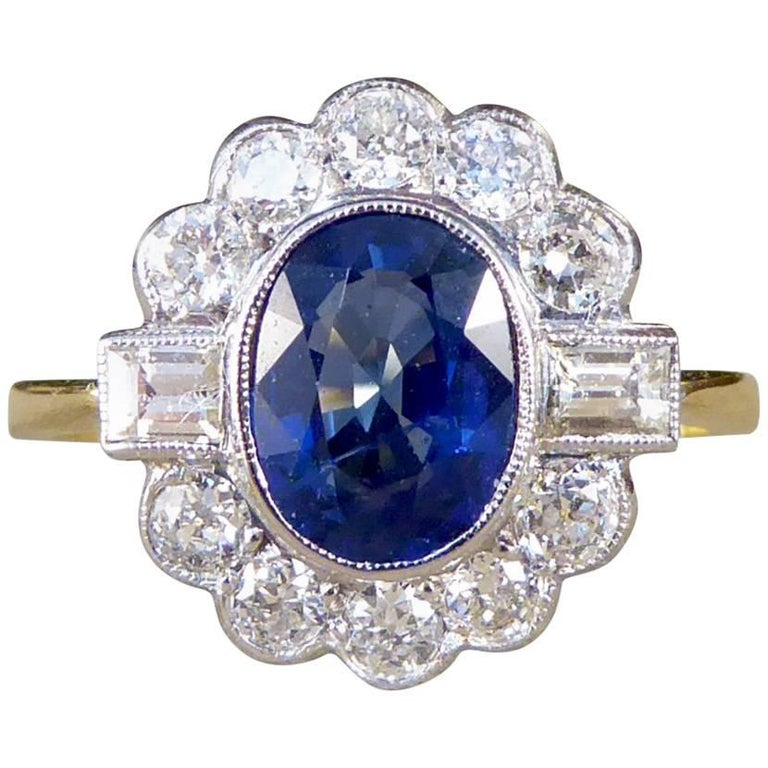 Contemporary Sapphire and Diamond Cluster 18 Carat Gold Ring