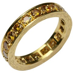 14k Yellow Gold Memory, memoire, Eternity Ring with 20 Champagne Diamonds, 2ct