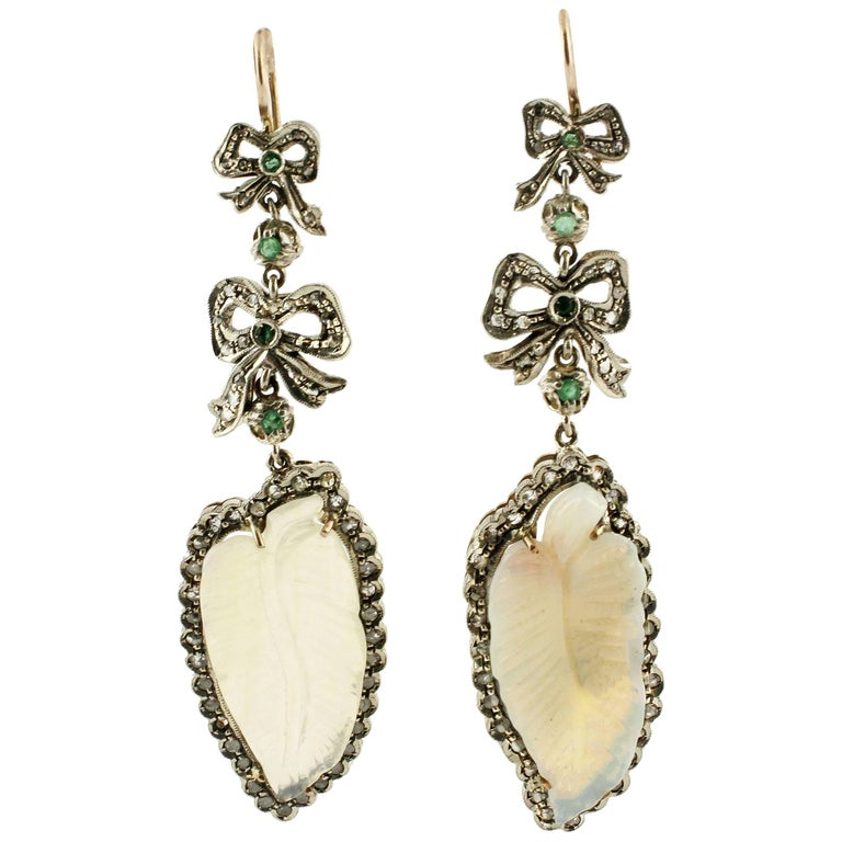 Opal Diamonds Emeralds Rose Gold and Silver Earrings