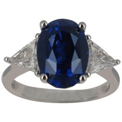 Royal Blue Vivid Blue Sapphire Ring 8.34 Carat No Heated GRS Certified