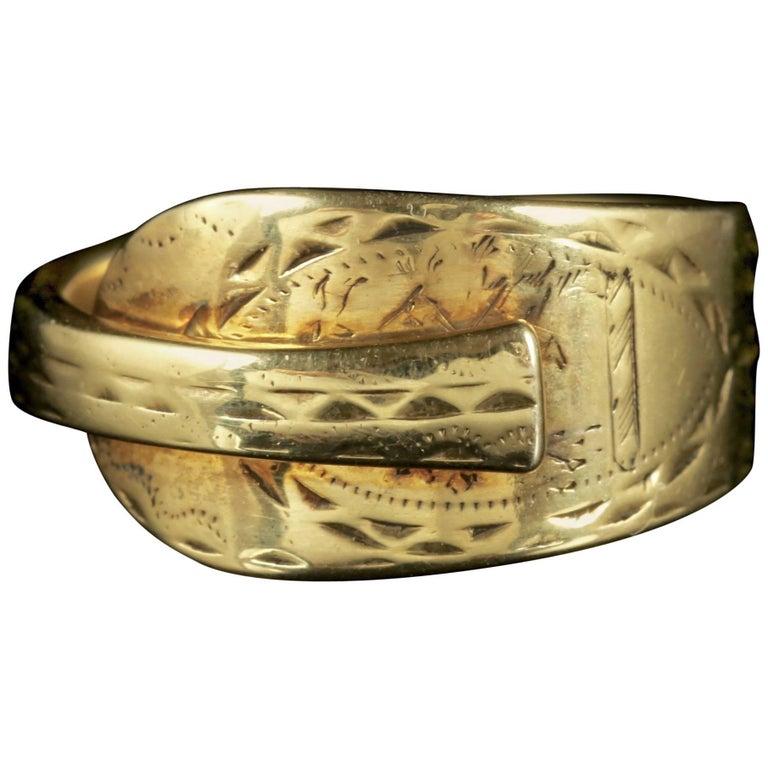 Antique Georgian Spoon Ring 18 Carat Gold Silver, circa 1800