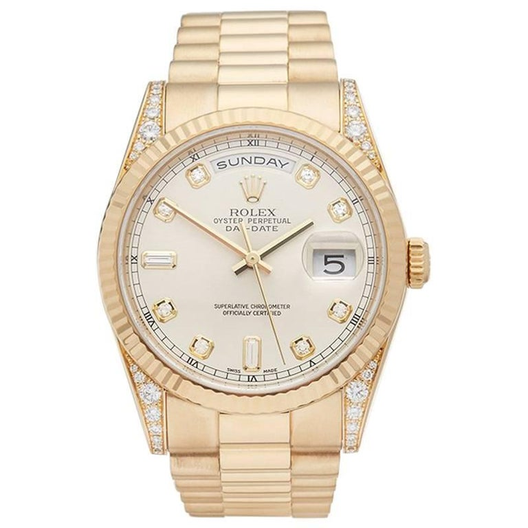 Rolex Day-Date 18 Karat Yellow Gold Men's 118338
