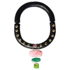 Ebony Sapphire Peridot Gold Necklace