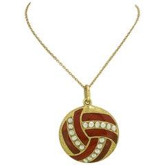 Late Victorian Edwardian Enamel Pearl Antique Locket 18 Karat Yellow Gold