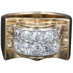 Vintage Gold Platinum and Diamonds French Ring