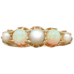 1863 Antique Opal and Pearl, Yellow Gold Dress Ring