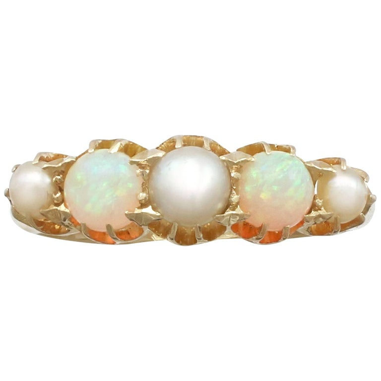 1863 Antique Opal and Pearl, Yellow Gold Dress Ring For Sale