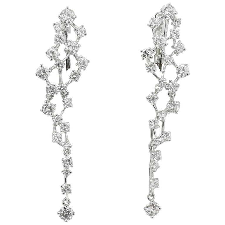 3 11 Carat Diamond Earrings 18 White Gold Drop Dangle For