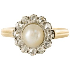 19th Century Natural Pearl Diamond Yellow Gold Cluster Ring