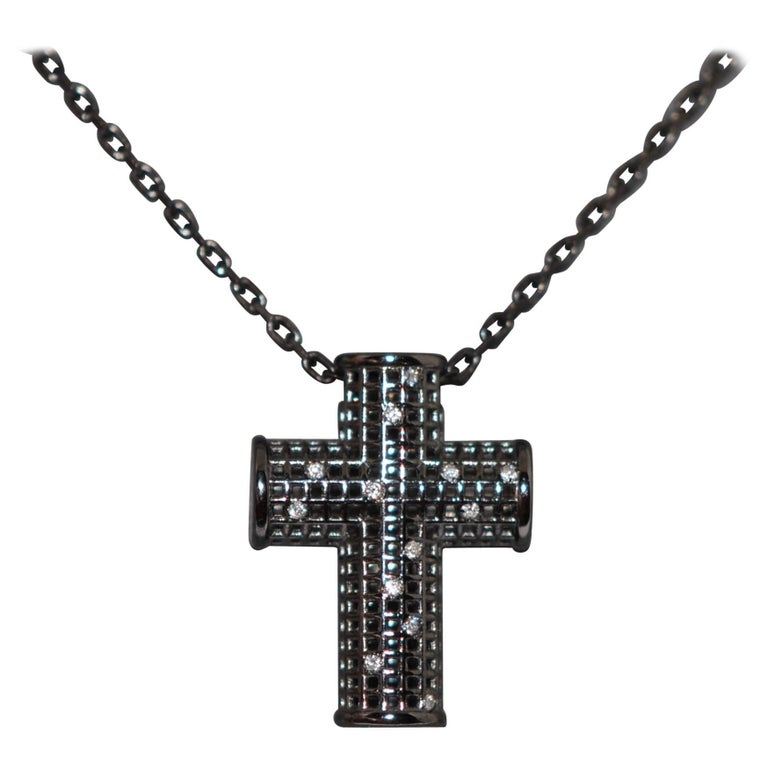 Cross White Gold Rhodium Black and White Diamonds Pendant Necklace