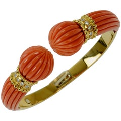 Italian Coral, Diamond and Gold Cuff Bracelet