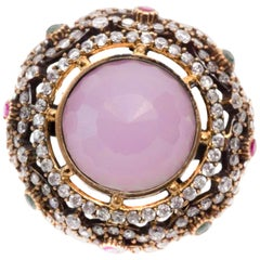 1960s Rose Quartz, Ruby, Sapphire, Silver and 18 Karat Gold-Plated Ring