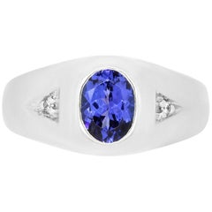 1.39 Carat Tanzanite and 0.03 Carat Diamond Men's Ring