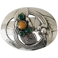 Georg Jensen Silver Brooch with Amber and Green Stones #13 from 1904-1914