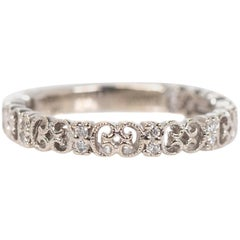 Gabriel & Co 0.25 Carat Diamond and 14 Karat White Gold Eternity Wedding Band