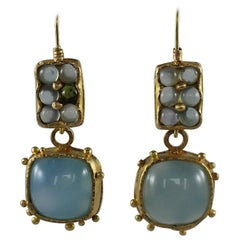 22k-21k Gold Chalcedony Cab Drop Dangle Earrings Contemporary Handmade