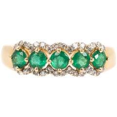 Five-Stone 1 Carat Total Emerald and 0.25 Carat Diamond 14 Karat Gold Band Ring