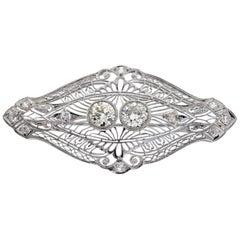 Vintage Pin 3.40 Carat Total Weight in Platinum, circa 1920s