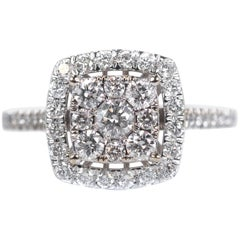 1 Carat Cluster Diamond Halo Engagement Ring in 10 Karat White Gold