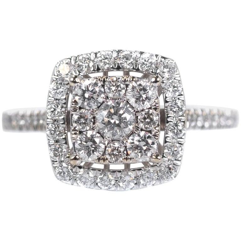 1 Carat Cluster Diamond Halo Engagement Ring in 10 Karat White Gold