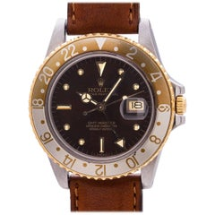 "Rolex Yellow Gold Stainless Steel GMT ""Rootbeer"" self winding wristwatch, c.1980"