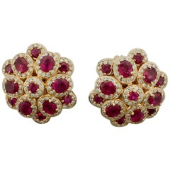 Ruby and Diamond Earrings in 18 Karat Rose Gold 5.25 Carat in Ruby