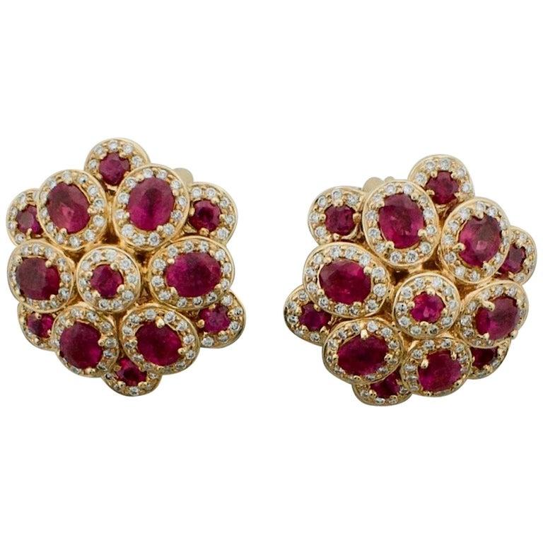 Ruby and Diamond Earrings in 18 Karat Rose Gold 5.25 Carat in Ruby