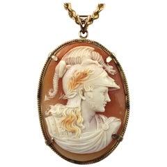 Antique Fine Cameo Pendant Necklace Depicting Ares, God of War 14 Karat Gold