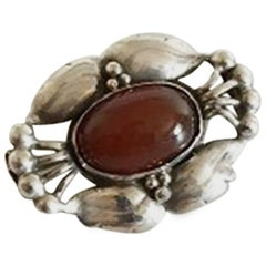 Georg Jensen Silver Brooch #80 with Amber