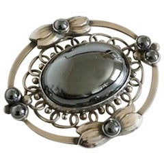 Georg Jensen Sterling Silver Brooch #91 with Hematite Stones