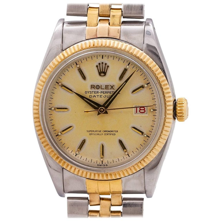 Rolex Yellow Gold Stainless Steel Datejust automatic wristwatch ref 6605, c1957