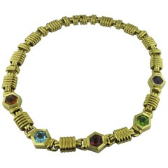 18 Karat Yellow Gold Necklace with 5 Semi-Precious Stones