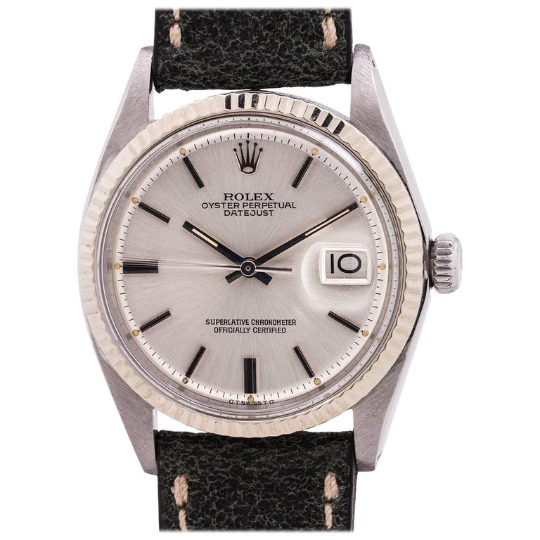 Rolex White Gold Stainless Steel Datejust self winding Wristwatch, circa 1971