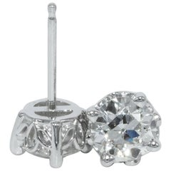 1.15 Carat Old European Cut Diamond Stud Earrings