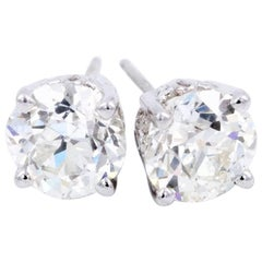 2.94 Carat Old European Cut Diamond Stud Earrings