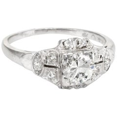 Antique Deco Diamond Platinum Engagement Ring