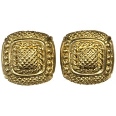 Judith Ripka Gold Textured Square Omega Clip-On Earrings