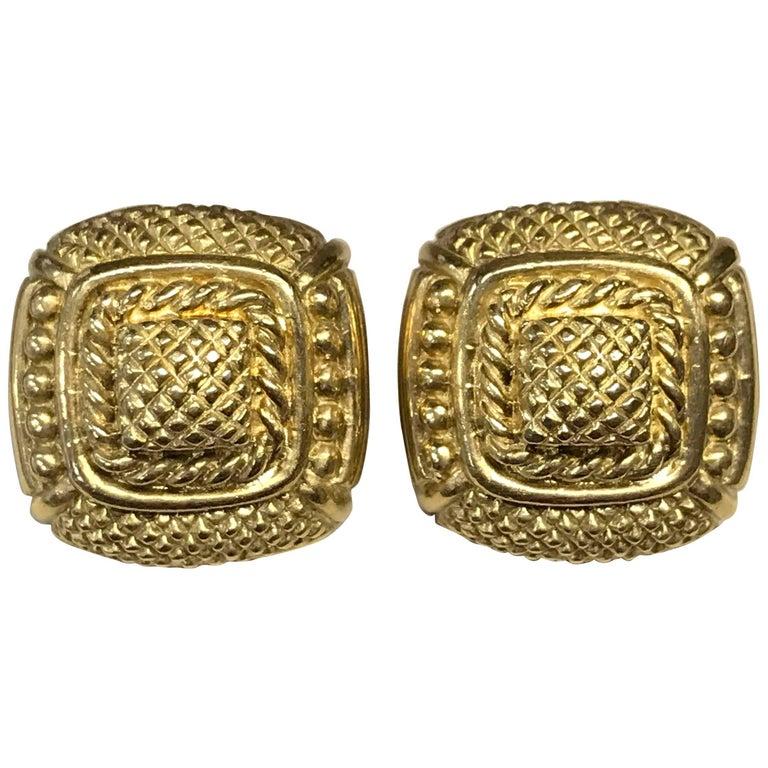 Judith Ripka Gold Textured Square Omega Clip-On Earrings