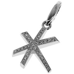 Cartier Diamonds Star Shaped 18 Karat White Gold Charm