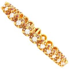 8.83 Carat Round-Brilliant Cut Diamond, Ruby and Rose Gold Tennis Bracelet